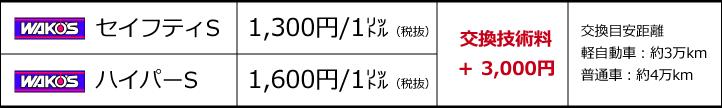 ATF/CVTオイル交換価格表